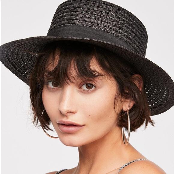 d2d111b8d3df6 Free people hidden hills black boater hat NWT